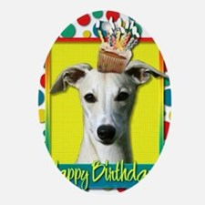 BirthdayCupcakeWhippet Oval Ornament