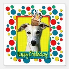 "BirthdayCupcakeWhippetCP Square Car Magnet 3"" x 3"""