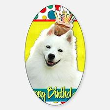 BirthdayCupcakeAmericanEskimo Sticker (Oval)