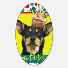 BirthdayCupcakeAustralianKelpieJude Sticker (Oval)