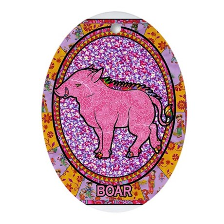 Year of the Boar Oval Ornament