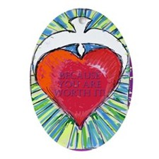 solid heartWORTHit Oval Ornament