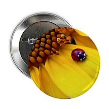 "Ladybug on Sunflower Heart 2.25"" Button"