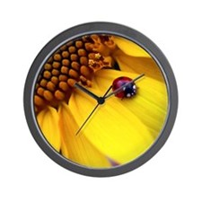 Ladybug on Sunflower Heart Wall Clock