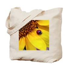 Ladybug on Sunflower Heart Tote Bag