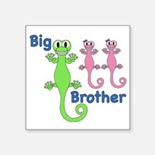"Big Brother of Twin Girls Square Sticker 3"" x 3"""
