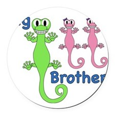 Big Brother of Twin Girls Round Car Magnet