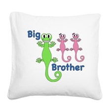 Big Brother of Twin Girls Square Canvas Pillow