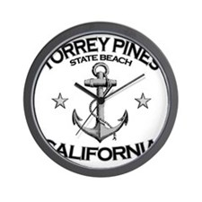 TORREY PINES STATE BEACH CALIFORNIA cop Wall Clock