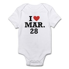 I Heart March 28 Infant Bodysuit