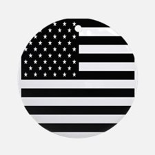 FF-flag-blackonwhite Round Ornament