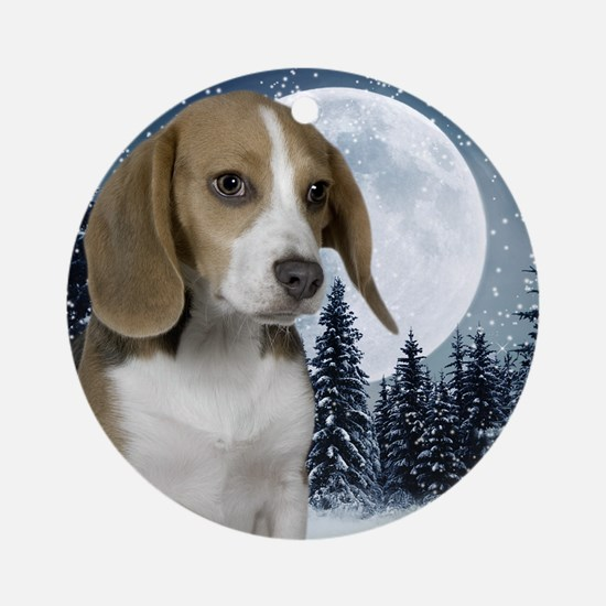 BeagleWinterMousepad Round Ornament