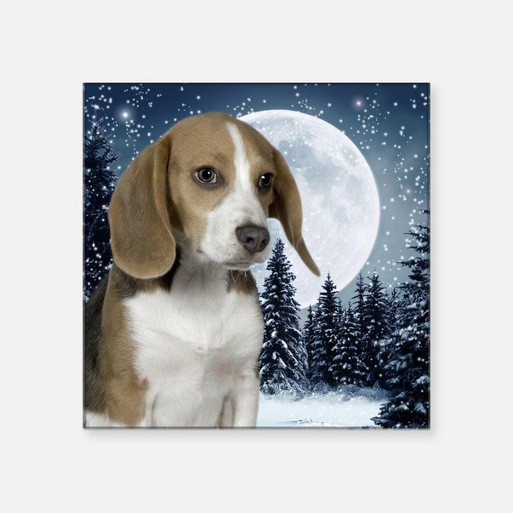 "BeagleWinterMousepad Square Sticker 3"" x 3"""