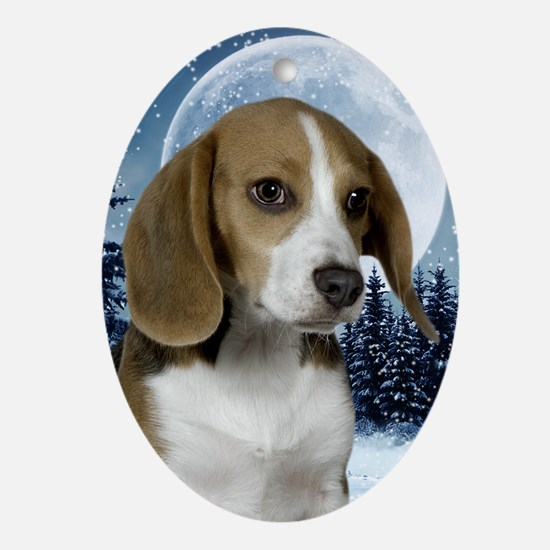 BeagleWinterJournal Oval Ornament