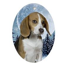 BeagleWinter443_iphone Oval Ornament