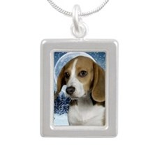 BeagleWinterKeychain Silver Portrait Necklace