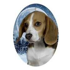 BeagleWinterKeychain Oval Ornament