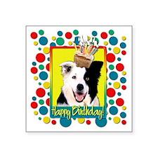 """BirthdayCupcakeBorderCollie Square Sticker 3"""" x 3"""""""