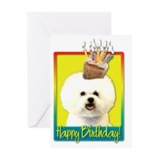 BirthdayCupcakeBichonFriseHB Greeting Card