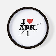 I Heart April 1 Wall Clock