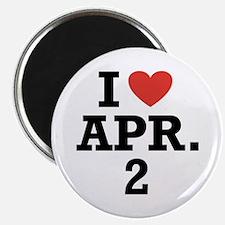 """I Heart April 2 2.25"""" Magnet (100 pack)"""