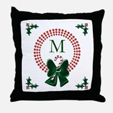 Polka Dots Christmas Wreaths Throw Pillow