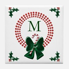 Polka Dots Christmas Wreaths Tile Coaster