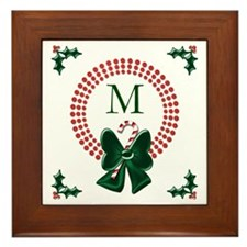 Polka Dots Christmas Wreaths Framed Tile