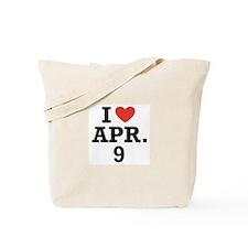 I Heart April 9 Tote Bag