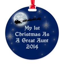 1St Christmas As A Great Aunt 2014 Ornament