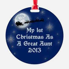 1St Christmas As A Great Aunt 2013 Ornament