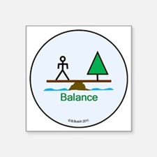 "Our World - Balance Button Square Sticker 3"" x 3"""
