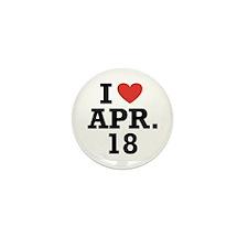I Heart April 18 Mini Button (10 pack)