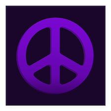 "Purple Fade Peace Sign Square Car Magnet 3"" x 3"""