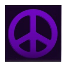 Purple Fade Peace Sign Tile Coaster