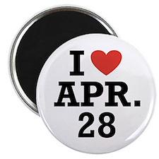 """I Heart April 28 2.25"""" Magnet (100 pack)"""