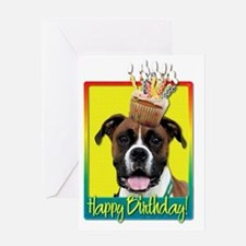 BirthdayCupcakeBoxerVindyHB Greeting Card