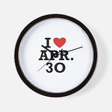 I Heart April 30 Wall Clock