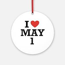 I Heart May 1 Ornament (Round)