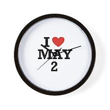 I Heart May 2 Wall Clock
