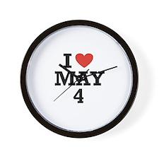 I Heart May 4 Wall Clock