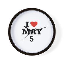I Heart May 5 Wall Clock