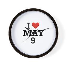 I Heart May 9 Wall Clock