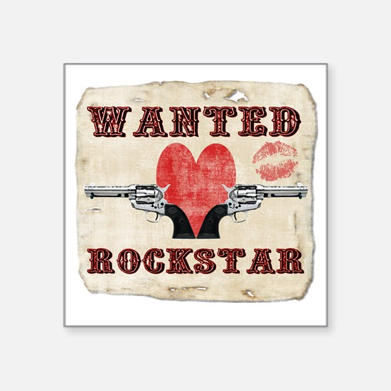 "wanted_rockstar Square Sticker 3"" x 3"""
