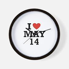 I Heart May 14 Wall Clock