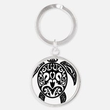 Sea Turtle Black Round Keychain