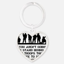 Stand Behind Troops Black Heart Keychain