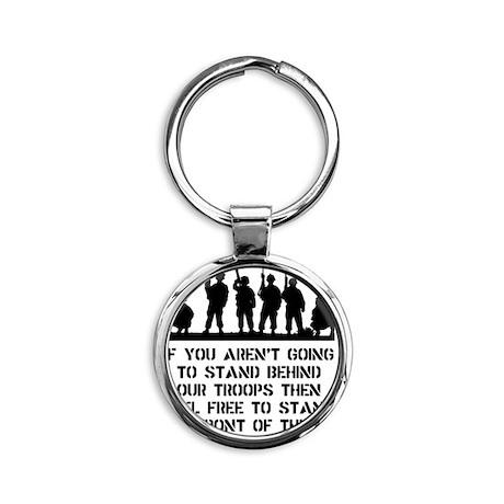 Stand Behind Troops Black Round Keychain