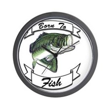 born to fish bass dark Wall Clock