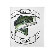 born to fish bass dark Throw Blanket